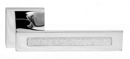 Frascio 625/50Q/PCP Tuke Glass Door Handle On Square Rose Polished Chrome